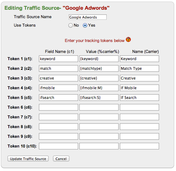Google Adwords Tokens