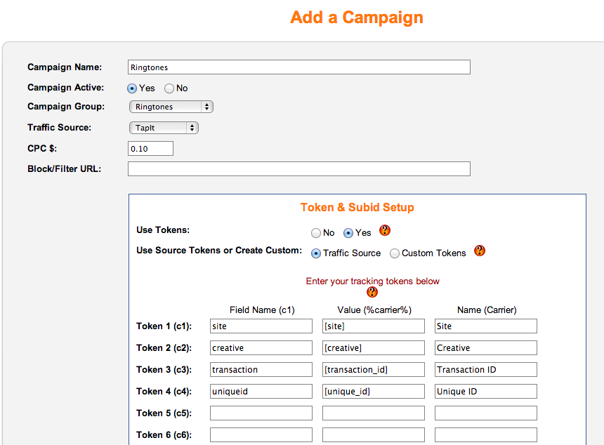 TapIt Campaign Setup iMobiTrax